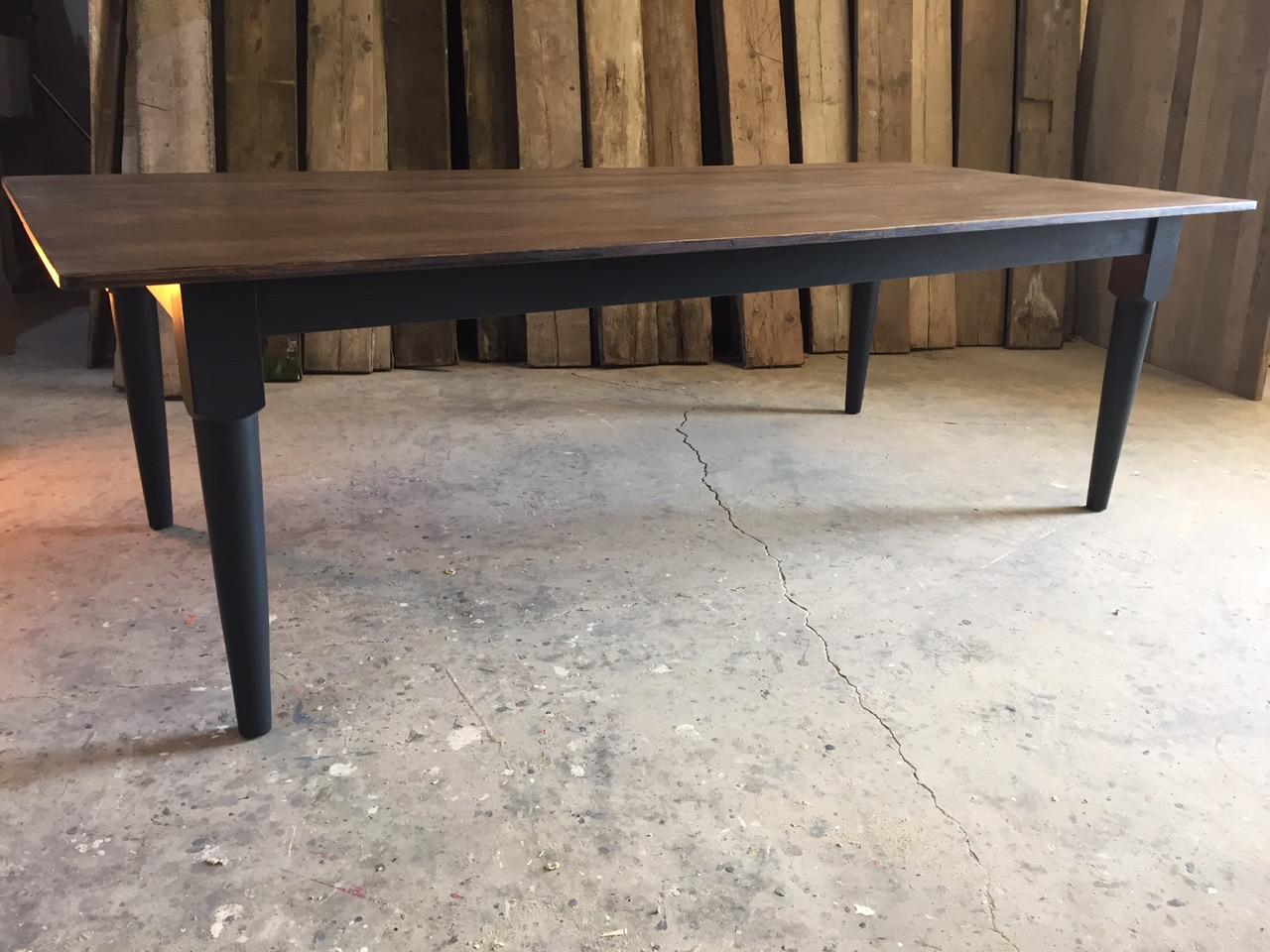 Oak top tapered leg dining table mid century modern table oak table diningtable