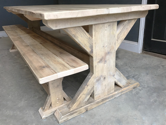 Reclaimed Timber Dining Table and Benches   Braced I-Frame Table   Farmhouse Dining Table   Industrial Dining Table   Rustic Dining Table