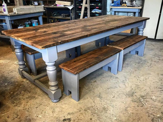 Refectory Table | Turned leg vintage refectory dining table | Rustic table | Reclaimed Dining Table | Reclaimed Kitchen Table | Handmade Dining Table | Rustic Wooden Table | Chunky Table
