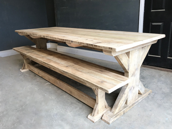 Reclaimed Timber Dining Table | Braced I-Frame Table | Farmhouse Dining Table | Industrial Dining Table | Rustic Dining Table