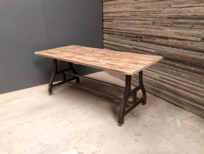 Reclaimed Timber Dining Table Metal Base | Metal Base Table | Farmhouse Dining Table | Industrial Dining Table | Rustic Dining Table | Wood and Metal Dining Table