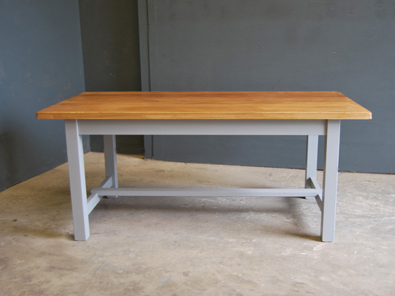 Square leg refectory dining table with oak top