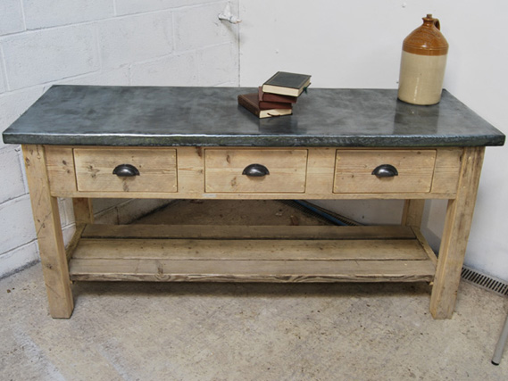 Sideboard from reclaimed timber. Zinc top sideboard. Vintage sideboard. Industrial sideboard. The Vintage Furniture Company