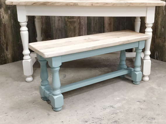 Turned leg refectory dining table and dining benches. Made from reclaimed timber. Rustic dining tables and dining benches. Rustic Dining Furniture