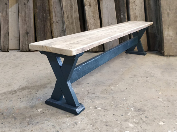 Reclaimed X_Frame dining table and dining benches. Made from reclaimed timber. Rustic dining tables and dining benches. Rustic Dining Furniture
