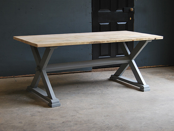 X-frame vintage dining table