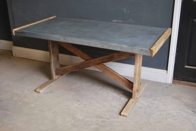 Zinc Top Dining Table | Industrial Dining Table | Dining Table | Metal Dining Table | Rustic Dining Table